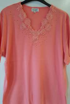 Nicole Lewis Plus Sized V-Neck Embroidered Tshirt - Coral