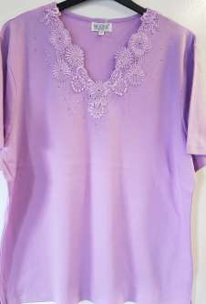 Nicole Lewis Plus Sized V-Neck Embroidered Tshirt - Lilac