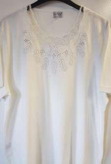 Nicole Lewis Plus Sized Scalloped Neck Tshirt - Cream