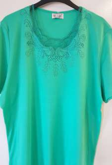Nicole Lewis Plus Sized Scalloped Neck Tshirt - Green