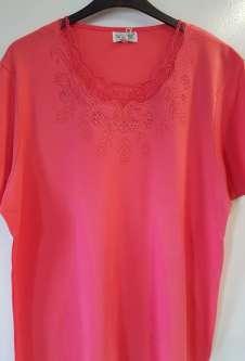 Nicole Lewis Plus Sized Scalloped Neck Tshirt - Coral