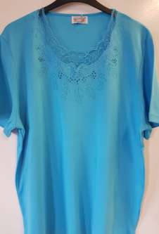 Nicole Lewis Plus Sized Scalloped Neck Tshirt - Aqua Blue