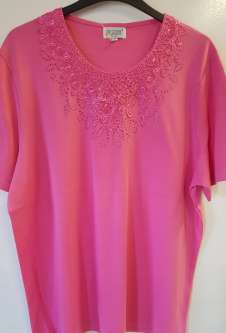 Nicole Lewis Plus Sized Round Neck Embroidered Tshirt - Pink