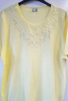 Nicole Lewis Plus Sized Round Neck Embroidered Tshirt - Lemon