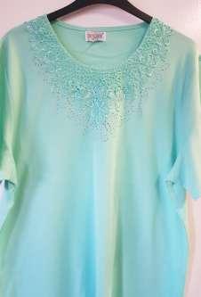 Nicole Lewis Plus Sized Round Neck Embroidered Tshirt - Aqua