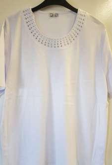 Nicole Lewis Plus Sized Tshirt w/Neck Detail - White