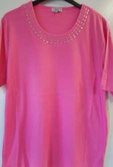 Nicole Lewis Plus Sized Tshirt w/Neck Detail - Pink