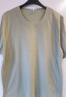 Nicole Lewis Plus Sized Tshirt w/Neck Detail - Khaki