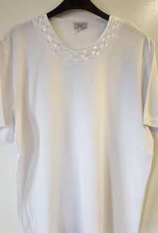 Nicole Lewis Plus Sized Tshirt w/Neck Detail 2 - White