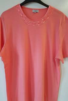 Nicole Lewis Plus Sized Tshirt w/Neck Detail 2 - Coral