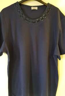 Nicole Lewis Plus Sized Tshirt w/Neck Detail 2 - Navy
