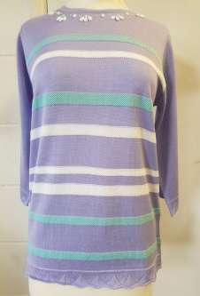 Nicole Lewis 3/4 Sleeve Summer Jumper - Lavender/Aqua Stripe