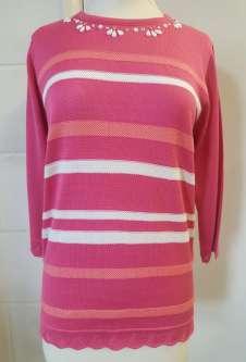 Nicole Lewis 3/4 Sleeve Summer Jumper - Pink/Coral Stripe