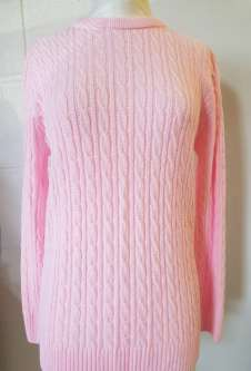 Nicole Lewis Cable Jumper Round Neck - Soft Pink
