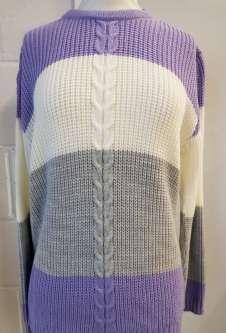 Nicole Lewis Round Neck Jumper - Lilac/Grey/Cream