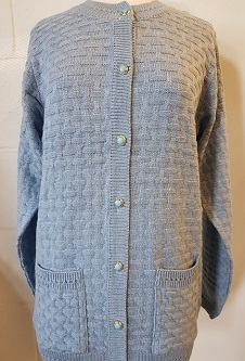 Nicole Lewis Brick Design Round Neck Cardigan - Baby Blue