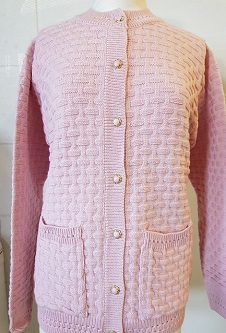 Nicole Lewis Brick Design Round Neck Cardigan - Baby Pink