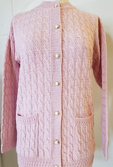 Nicole Lewis Cable Design Round Neck Cardigan - Baby Pink