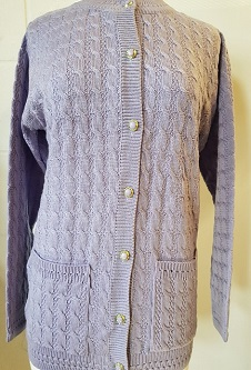 Nicole Lewis Cable Design Round Neck Cardigan - Lavender