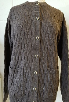 Nicole Lewis Cable Design Round Neck Cardigan - Coffee Brown