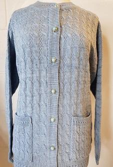 Nicole Lewis Cable Design Round Neck Cardigan - Silver Grey