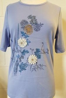 Nicole Lewis Poly/Cotton Floral Tshirt - Lavender