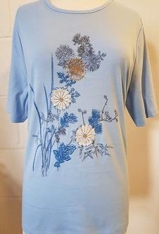 Nicole Lewis Poly/Cotton Floral Tshirt - Blue