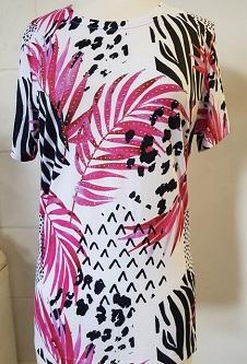 Nicole Lewis Poly/Elastane Stretch Fabric T-Shirt - Pink/Black