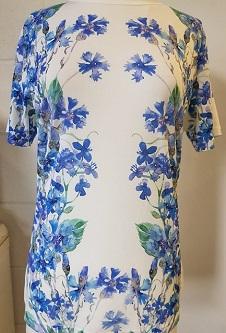 Nicole Lewis Poly/Elastane Stretch Fabric T-Shirt - Blue/White