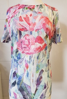 Nicole Lewis Poly/Elastane Stretch Fabric T-Shirt - Pink/Multi