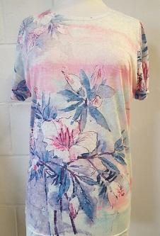 Nicole Lewis Poly/Elastane Stretch Fabric T-Shirt - Pink/Lilac