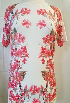 Nicole Lewis Poly/Elastane Stretch Fabric T-Shirt - Coral