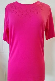 Nicole Lewis Round Neck Embroidery Tshirt I - Cerise