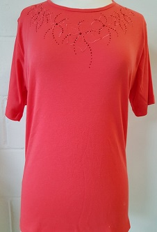 Nicole Lewis Round Neck Embroidery Tshirt I - Coral