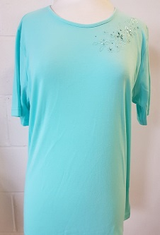 Nicole Leiws Round Neck Embroidery Tshirt II - Aqua