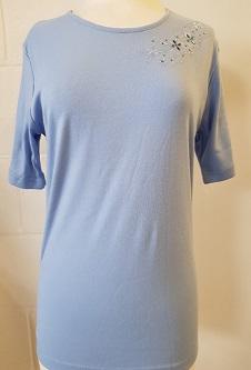 Nicole Lewis Round Neck Embroidery Tshirt II - Powder Blue