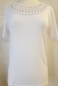 Nicole Lewis Embroidery Neck Tee - White