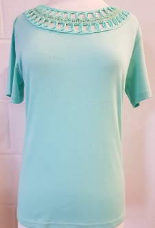 Nicole Lewis Embroidery Neck Tee - Mint Green