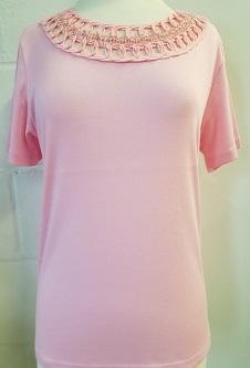 Nicole Lewis Embroidery Neck Tee - Pink
