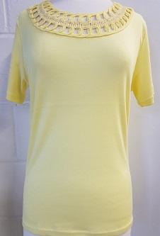 Nicole Lewis Embroidery Neck Tee - Lemon