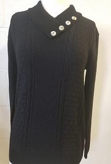 Nicole Lewis 4-Button Collar Jumper - Black