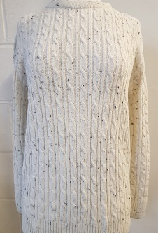 Nicole Lewis Cable Jumper w/Round Neck - Oatmeal