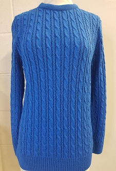 Nicole Lewis Cable Jumper w/Round Neck - Royal Blue