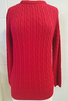 Nicole Lewis Cable Jumper w/Round Neck - Red