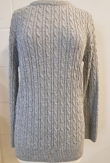 Nicole Lewis Cable Jumper w/Round Neck - Grey