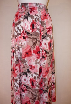 Nicole Lewis Panel Skirt - Red/Taupe Floral