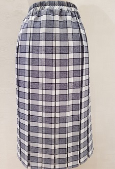 Nicole Lewis Box Pleat Skirt - Navy/White Check