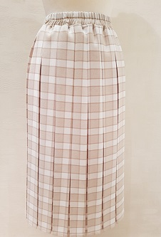 Nicole Lewis Box Pleat Skirt Beige/Cream Check