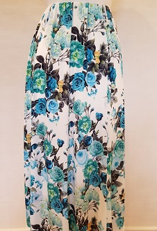 Nicole Lewis 8 Panel Stretch Skirt - Green/Aqua Floral