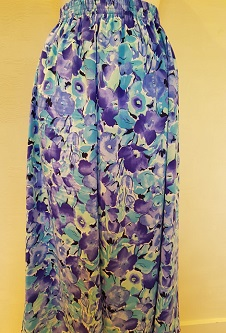 Nicole Lewis Elasticated Panel Skirt - Blue/Lilac/Aqua Floral